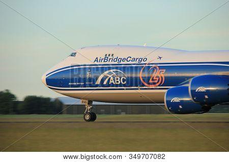 Amsterdam, The Netherlands  - June 1st, 2017: Vq-bvr Airbridgecargo Boeing 747-8f Taking Off From Po