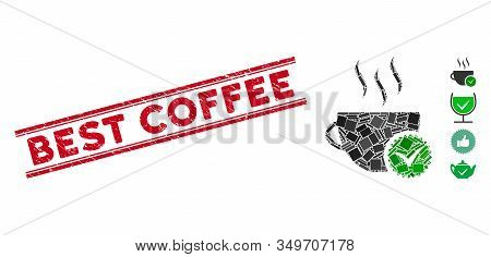 Mosaic Best Coffee Pictogram And Red Best Coffee Seal Stamp Between Double Parallel Lines. Flat Vect