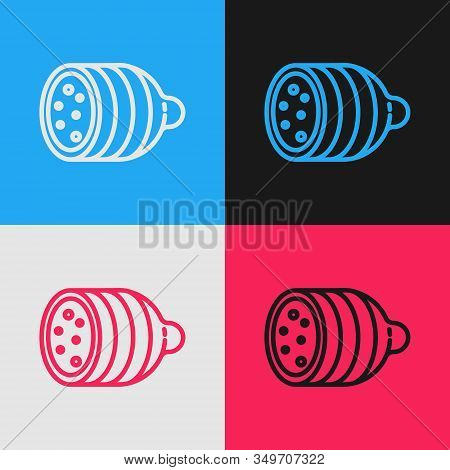 Color Line Salami Sausage Icon Isolated On Color Background. Meat Delicatessen Product. Vintage Styl