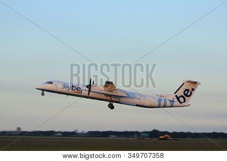 Amsterdam, The Netherlands  - June 1st, 2017: G-jecn Flybe De Havilland Canada Dhc-8-400 Taking Off