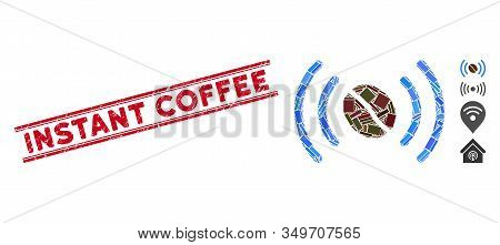 Mosaic Coffee Wifi Spot Pictogram And Red Instant Coffee Stamp Between Double Parallel Lines. Flat V