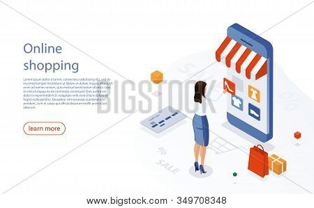 Online Shopping Ecommerce 24 Hours Customer Support Service. Woman Shop Online Using Smartphone. E-s