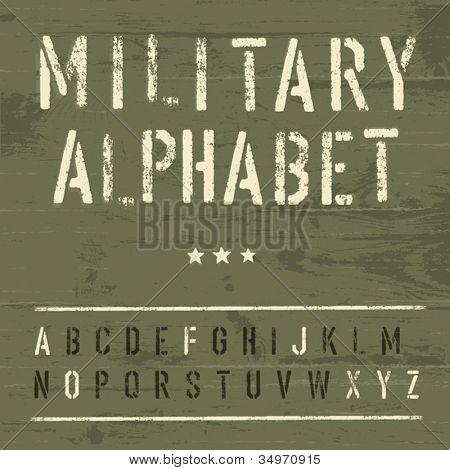 Military Vintage Alphabet. Vector, EPS10
