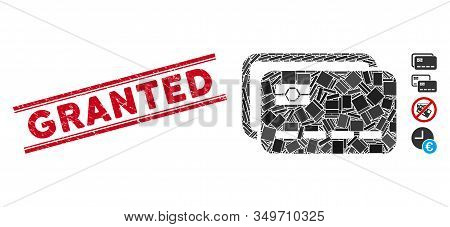 Mosaic Banking Cards Pictogram And Red Granted Rubber Print Between Double Parallel Lines. Flat Vect