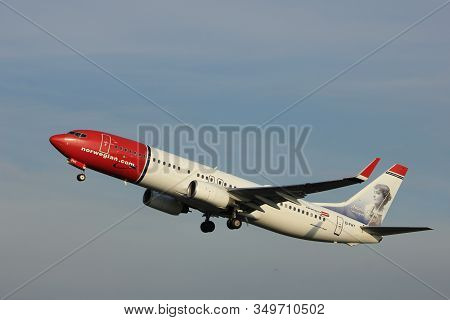 Amsterdam, The Netherlands  -  June 2nd, 2017:  Ei-fht Norwegian Air International Boeing 737 Taking