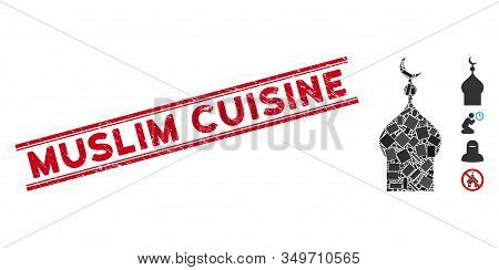 Mosaic Muslim Church Pictogram And Red Muslim Cuisine Seal Stamp Between Double Parallel Lines. Flat
