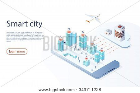 Smart City Or Intelligent Building Isometric Vector. Futuristic Smart City Concept, Buildings Connec