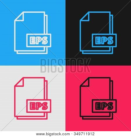 Color Line Eps File Document. Download Eps Button Icon Isolated On Color Background. Eps File Symbol