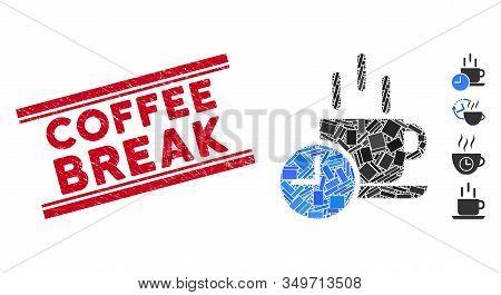 Mosaic Coffee Break Pictogram And Red Coffee Break Seal Stamp Between Double Parallel Lines. Flat Ve