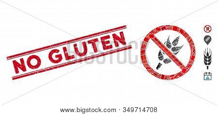 Mosaic No Gluten Icon And Red No Gluten Seal Stamp Between Double Parallel Lines. Flat Vector No Glu