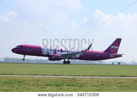 Amsterdam The Netherlands - April 2nd, 2017: Tf-gpa Wow Air Airbus A321-200 Takeoff From Polderbaan