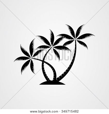 Palm Tree Silhouette Icon. Simple Flat Vector Illustration