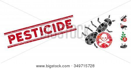 Mosaic Pesticide Icon And Red Pesticide Stamp Between Double Parallel Lines. Flat Vector Pesticide M