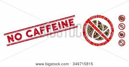 Mosaic No Caffeine Icon And Red No Caffeine Seal Stamp Between Double Parallel Lines. Flat Vector No