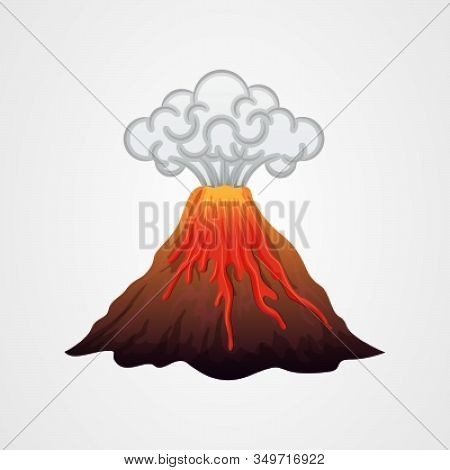 Volcanic Eruption With Lava And Smoke Vector Illustration