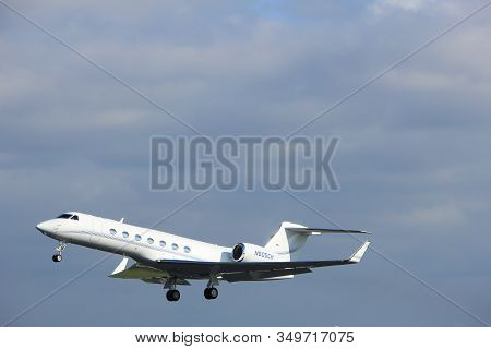 Amsterdam The Netherlands - April 7th, 2017: N605ch Private Gulfstream Aerospace Takeoff From Polder