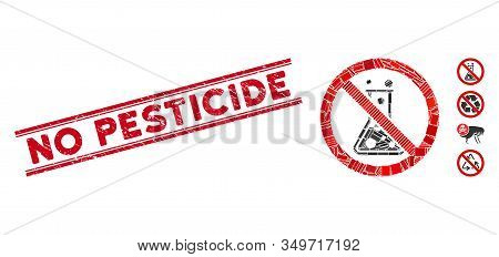 Mosaic No Chemical Reaction Icon And Red No Pesticide Stamp Between Double Parallel Lines. Flat Vect