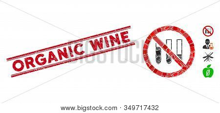 Mosaic No Test-tubes Pictogram And Red Organic Wine Seal Between Double Parallel Lines. Flat Vector