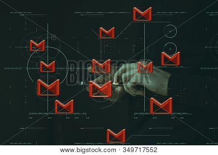 Gmail Scatter Man With Mobile ,digital Technology