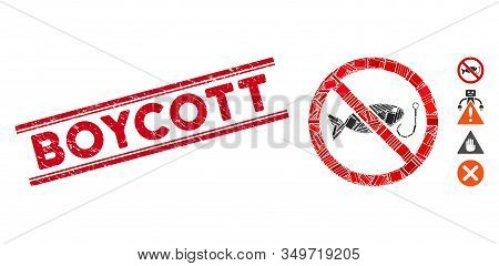 Mosaic No Fishing Icon And Red Boycott Rubber Print Between Double Parallel Lines. Flat Vector No Fi