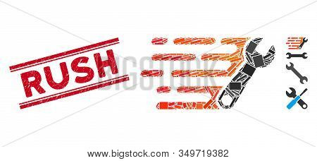 Mosaic Rush Wrench Icon And Red Rush Seal Between Double Parallel Lines. Flat Vector Rush Wrench Mos