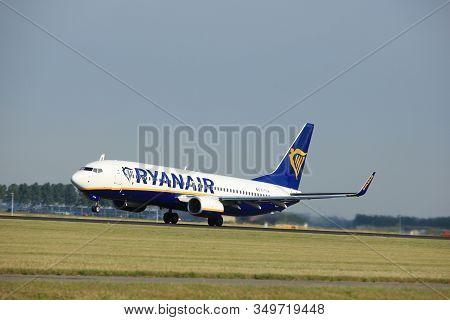Amsterdam The Netherlands - July 6th, 2017: Ei-ftw Ryanair Boeing 737-800 Takeoff From Polderbaan Ru