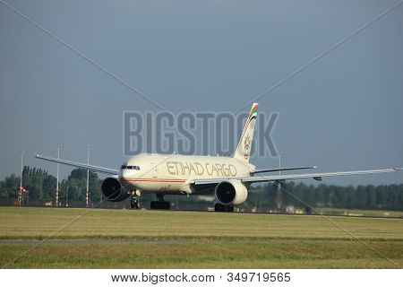 Amsterdam The Netherlands - July 6th, 2017: A6-ddb Etihad Airways Boeing 777-ffx Takeoff From Polder