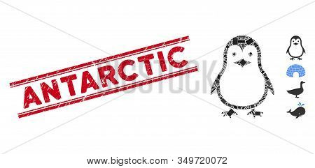 Mosaic Penguin Icon And Red Antarctic Stamp Between Double Parallel Lines. Flat Vector Penguin Mosai