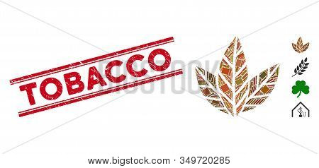 Mosaic Tobacco Leaves Icon And Red Tobacco Rubber Print Between Double Parallel Lines. Flat Vector T