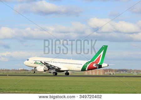 Amsterdam The Netherlands - April 7th, 2017: Ei-dsl Alitalia Airbus A320 Takeoff From Polderbaan Run