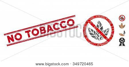 Mosaic No Tobacco Icon And Red No Tobacco Seal Stamp Between Double Parallel Lines. Flat Vector No T