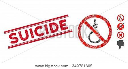 Mosaic No Suicide Loop Pictogram And Red Suicide Seal Between Double Parallel Lines. Flat Vector No