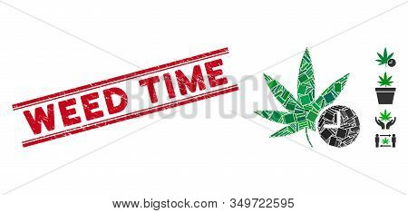 Mosaic Weed Time Icon And Red Weed Time Watermark Between Double Parallel Lines. Flat Vector Weed Ti