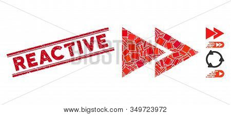 Mosaic Rewind Forward Icon And Red Reactive Seal Stamp Between Double Parallel Lines. Flat Vector Re