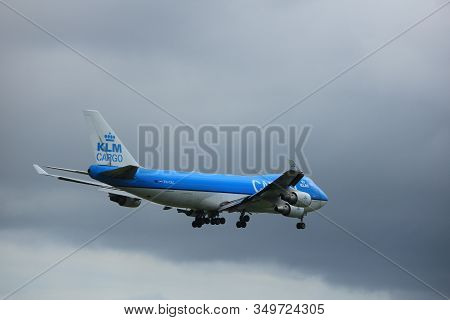 Amsterdam The Netherlands - July 20th 2017: Ph-ckc Klm Royal Dutch Airlines Boeing 747-400f Approach