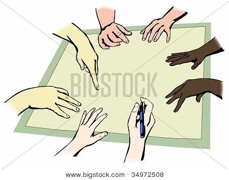 Hands of people from different races