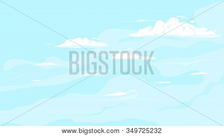 Blue Sky With Clouds Background Illustration, Light Blue Sky With Small With White Lonely Clouds, Su
