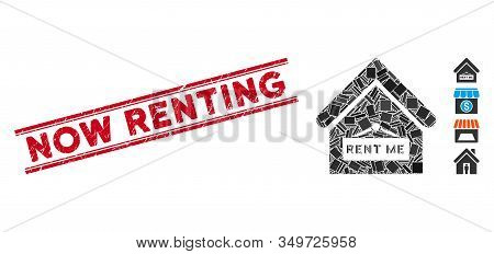 Mosaic Rent Me Icon And Red Now Renting Seal Between Double Parallel Lines. Flat Vector Rent Me Mosa