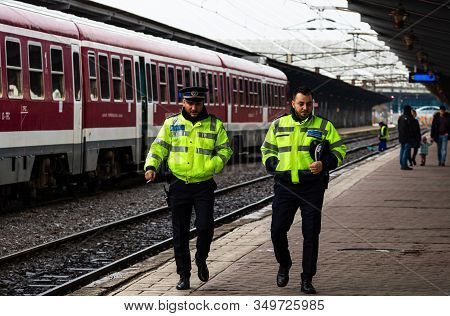 Police Officers Patrolling On The Train Platform At Bucharest North Railway Station (gara De Nord) I