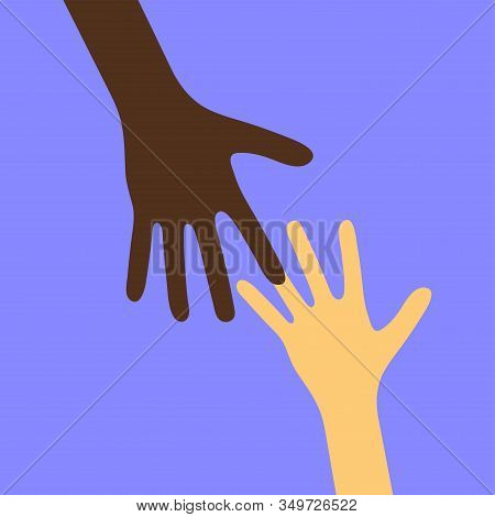 Two Different Races And Skintone Hands Reaching For Each Other. Persons Arms Isolated On Blue Backgr