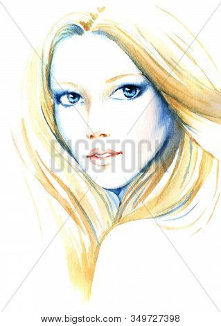 Beautiful Young Women With Long Blondy Hair, Hand Paint Watercolor Illustration