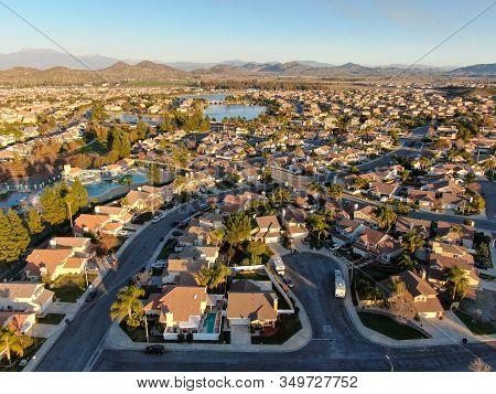 Aerial View Of Menifee Neighborhood, Residential Subdivision Vila During Sunset. Riverside County, C