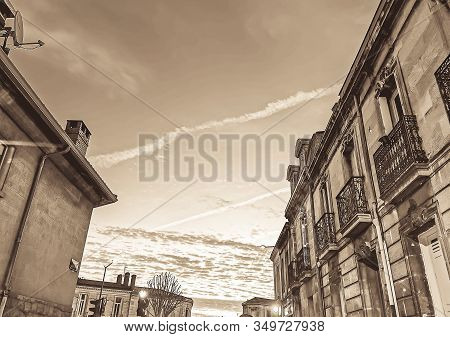 Old Narrow Street With Partial View On Houses And Dark Sky, Sunset Cityscape.