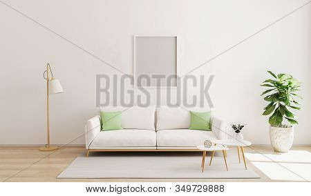 Mock Up Frame In Modern Interior Background. Scandinavian Style. Bright  And Cozy Living Room Interi