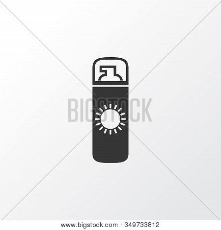 Sunscreen Icon Symbol. Premium Quality Isolated Suntan Element In Trendy Style.