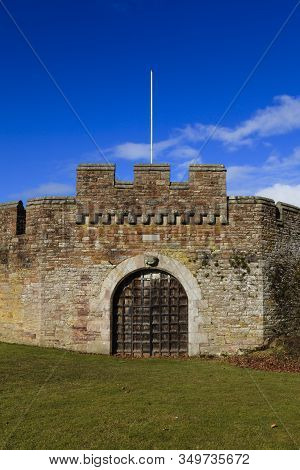 Fortified Walls.  The Fortified Walls Surround Brougham Hall, A Tudor Building Dating Back To 1500 A