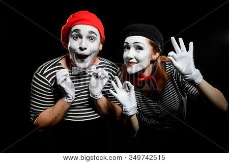 Cute Mime Artists On Black. Waist Up Portrait Of Man And Woman
