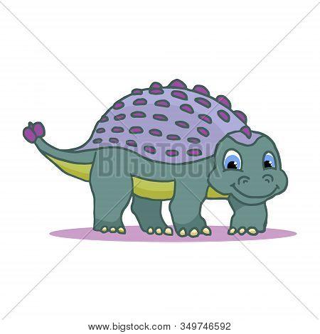 Cute Little Cartoon Baby Dinosaur - Ankylosaurus Colorful. Vector