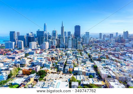 Skyline Of San Francisco, California, Usa, Showing Urban Sprawl And Downtown Financial District.