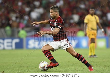 Rio, Brazil - February 08, 2020: Diego In Match Between Flamengo And Madureira By The Carioca Champi